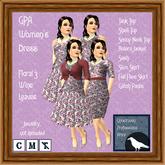 GPA Women's Dress - Floral 3  Wine Leaves - ADD to unpack