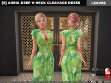 [S] Aisha Deep V-Neck Cleavage Dress Leaves