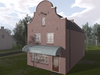 Dutchie Red Brick Mesh Cafe Building Furnished with Clock Facade, Bar Furniture with Bento hand anims and AVsitter exp