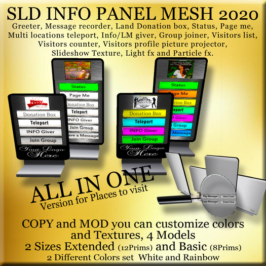 INFO Center Panel Places 100% Mesh Greeter, Message recorder, Multi Teleporter, Profile Projector, Visitors counter