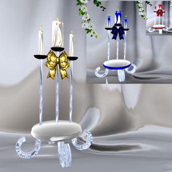CHARM Wedding Unity Candle Set w/ color change & Candle Lite