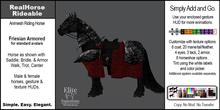 *E* RealHorse Animesh Rideable Friesian Horse Armored [Add & Click]
