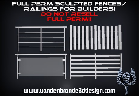 ~Full perm fences / railings pack + maps for builders