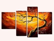 Split Canvas Home Wall Art, FLOWERING TREE, Alpha Decal, copy/mod 1 prim hanging Decor, image both sides! Edit Resize!