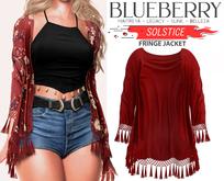 Blueberry - Solstice - Fringe Wrap - Red