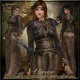 {AS} Hervor Fitted Mesh Gown: Brown; Viking, Shieldmaiden, Torvaldsland, Maitreya, Physique, Hourglass, Freya, Venus