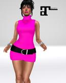 XK Maitreya Sleeveless Turtleneck Dress Hot Pink