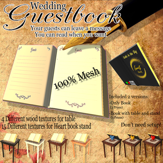 Wedding Guestbook with Table Mesh - Message recorder, player - don't need setup - 4 Wood Texture Heart stand 5 Prims tot