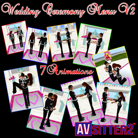 New Front altar Wedding Ceremony Menu 7 Animations exchange rings, vows, kiss the essential for weddings AVsitter 2