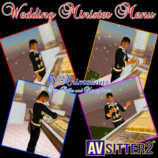 Wedding Minister celebrant Menu, 6 animations, Free gift Bible & Microphone AV Sitter menu with props Prete Preist Menu