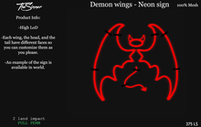 Demon Wings - Neon sign FULL PERM
