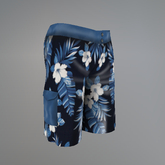 Blue Hibiscus Slink Shorts