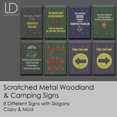 DEMO Metal Woodland / Camping Signs with Funny Slogans