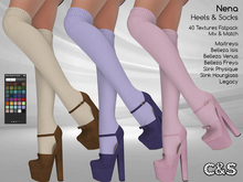 PROMO - C&S Nena Heels & Socks for Maitreya Lara, Slink (P, H), Belleza (V, I, F) and Legacy. 40 Text. HUD. Mix & Match.