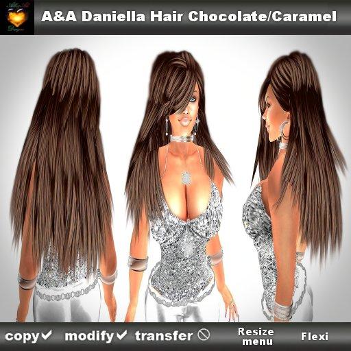 A&A Daniella Hair Chocolate/Caramel (long straight style with bangs)