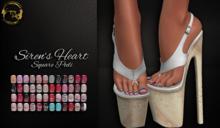 ~GD~Siren's Heart(Square Pedi) - Legacy Mesh Feet (f)