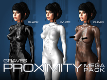 GRAVES Proximity - Megapack - all 3 colours - leather latex bodysuit, catsuit, plugsuit, undersuit - Maitreya and Omega