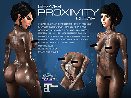 GRAVES Proximity - Clear  - latex bodysuit, catsuit, plugsuit, undersuit - Maitreya and Omega appliers