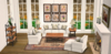 White Roll Arm and Distressed Wood Mesh Living Set COPY