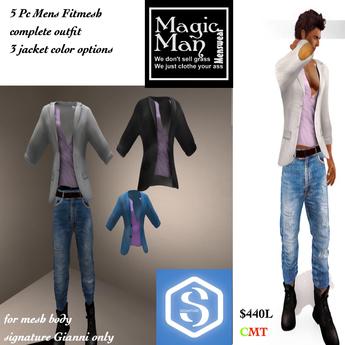 Signiture Gianni 5 pc casual jean & Jacket & boot set-Box