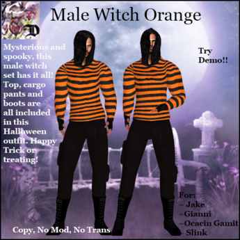 Male Witch Outfit ORANGE (ADD ME)