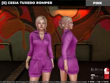 [S] Cesia Tuxedo Romper Pink
