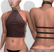 """Leather Top """"Stephano"""" flat chest TwoSided"""