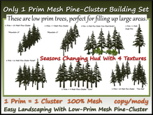 Only 1 Prim Mesh Pine-Cluster Building Set With Seasons Hud c-m