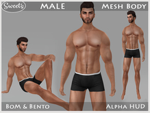 Sweet's Male BoM Bento Mesh Body (w. Alpha HUD)