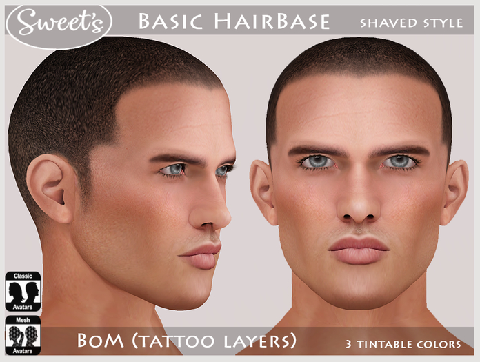 Sweet's Basic Male HairBase - BoM (Tattoo)