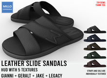 Millo Copperfield - Leather Slide Sandals with HUD (5 textures), Copy