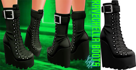 Demon Doll - Ravechella Boots Onyx