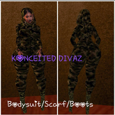[K.D]CAMO Bodysuit  w boots and scarf