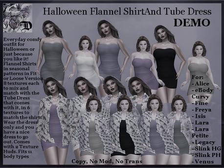 Halloween Flannel Shirt and Tube Dress DEMO (ADD ME)