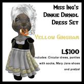 Miss Ing's Dinkie Dirndl Dress Set Yellow Gingham