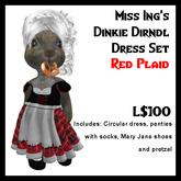 Miss Ing's Dinkie Dirndl Dress Set Red Plaid