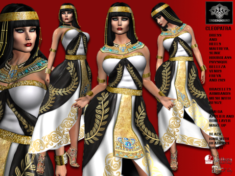 **CLEOPATRA QUEEN OF EGYPT INSPIRATION COMPLET OUTFIT** (WEAR)