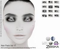 Zibska ~ Noir Pack Vol 17 Black eyeshadow in 12 styles with Lelutka, Genus,LAQ, Catwa & Omega appliers and system tattoo