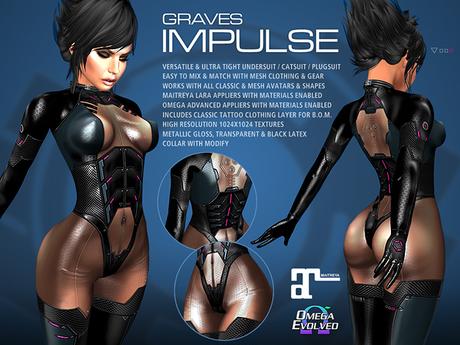 GRAVES Impulse - leather latex bodysuit, catsuit, plugsuit, undersuit - Maitreya and Omega appliers
