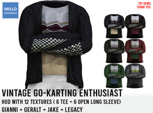 Millo Copperfield - Vintage Go-Karting Enthusiast set + HUD with 12 textures ( 6 tee + 6 open long sleeve)