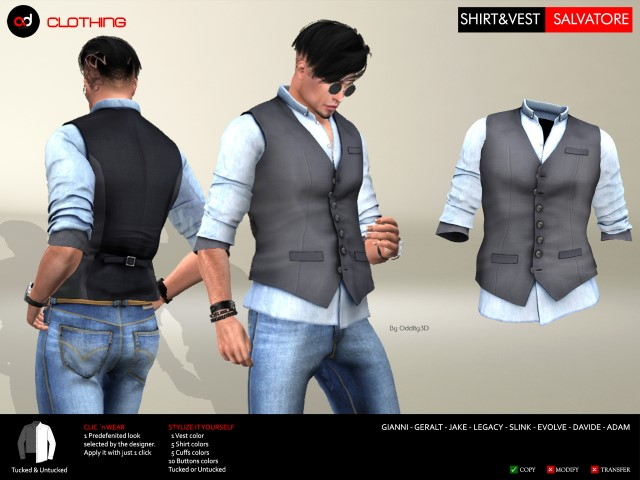 A&D Clothing - Shirt&Vest -Salvatore- Ebony