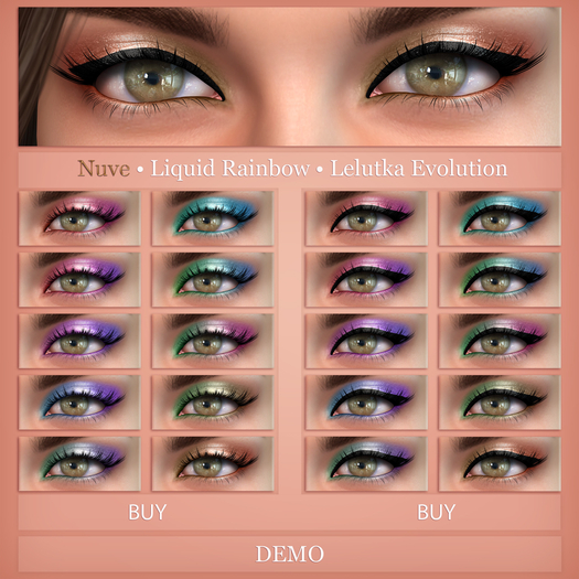 Nuve. Liquid Rainbow eyeshadows  - Lelutka Evo HD DEMO