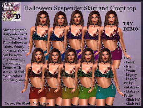 Halloween Suspender Skirt and Crop Top (ADD ME)