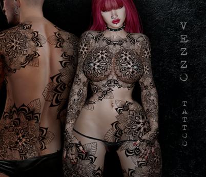 Rivera Unisex Tattoo - Mandala, Black, Maitreya, Legacy, INTHIUM KUPRA, Belleza, Signature, Omega, BOM - Vezzo Ink