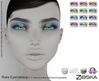 Zibska ~ Roks Eyemakeup in 12 colors with Lelutka, LAQ, Catwa and Omega appliers and tattoo BOM layers