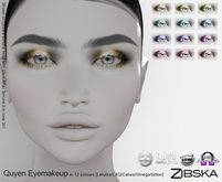 Zibska ~ Quyen Eyemakeup in 12 colors with Lelutka, LAQ, Catwa, Omega appliers and system tattoo BOM layers