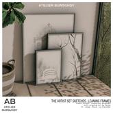 Atelier Burgundy .  Artist Set Sketches . Leaning Frames