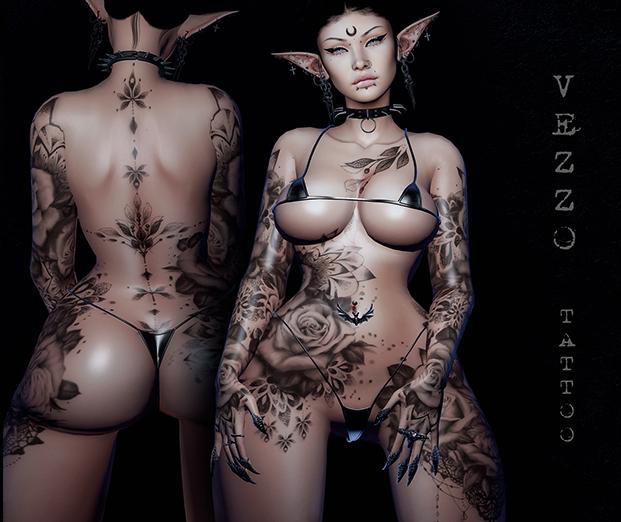 Rozi Unisex Tattoo - Black, single colour, Maitreya, Legacy, INTHIUM KUPRA, Belleza, Signature, Omega, BOM - Vezzo Ink
