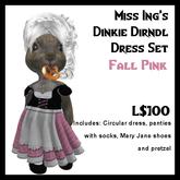 Miss Ing's Dinkie Dirndl Dress Set Fall Pink