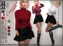 .:S&B:. Knitted Shirt with Black Skirt *5 Colours*